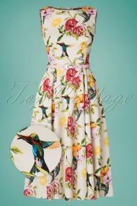 50s Hepburn Humming Birds Swing Dress in Ivory