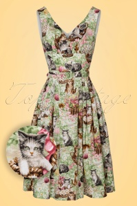 TopVintage Exclusive ~ 50s Retro Kittens Swing Dress in Green