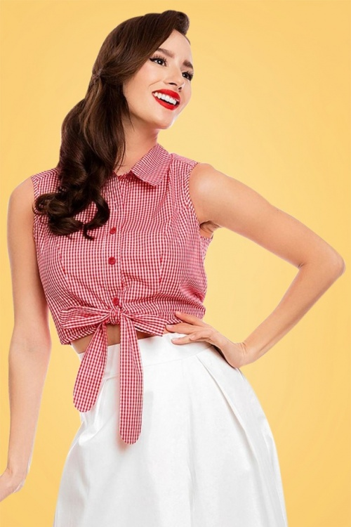 chemisier ann es 50 clementine gingham top en blanc et rouge. Black Bedroom Furniture Sets. Home Design Ideas