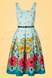 Lindy Bop Bernice Green Floral Dress 102 49 21877 20170403 0003W