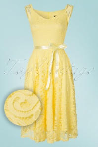 50s Lucia Lace Swing Dress in Light Yellow
