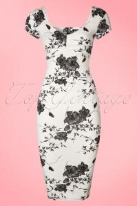 50s Veronique Floral Pencil Dress in White