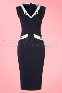 50s Signe Lee Pencil Dress in Navy and White
