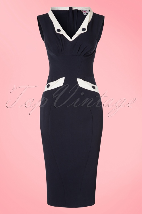 Miss Candyfloss Navy and White Pencil Dress 100 31 20616 20170403 0002W
