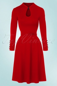 50s Dita Swing Dress in Lipstick Red