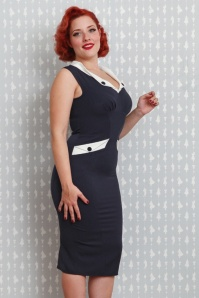 Miss Candyfloss Navy and White Pencil Dress 100 31 20616 20170403 02