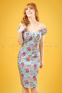 50s Dolores Peony Floral Pencil Dress in Light Blue
