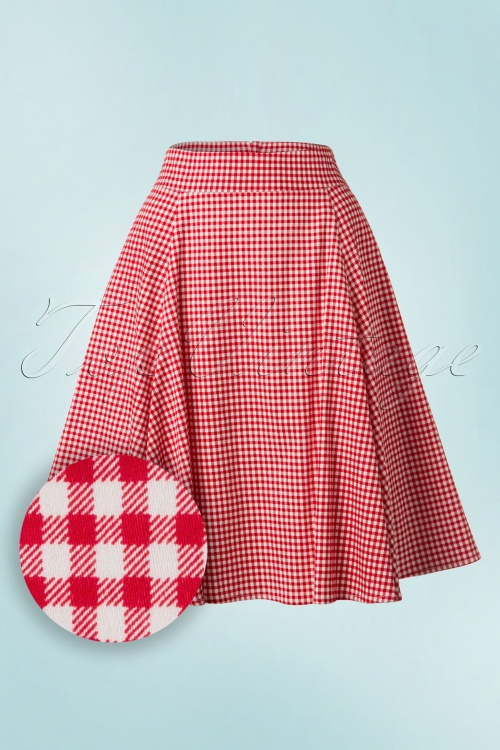 Collectif Clothing Tammy Gingham Skirt in Red 20664 20161129 0003W1