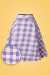 Collectif Clothing Tammy Gingham Skirt Lilac 20662 20161130 0004W1
