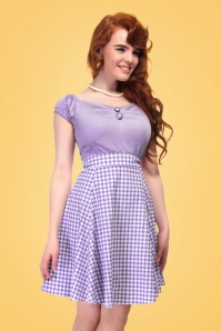 Collectif Clothing Tammy Gingham Skirt Lilac 20662 20161130 0010