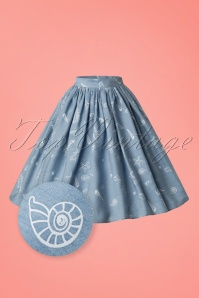 Collectif Clothing Jasmine Seashell Denim Skirt 20782 20161201 0004wv