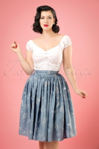 50s Jasmine Seashell Swing Skirt in Denim Blue