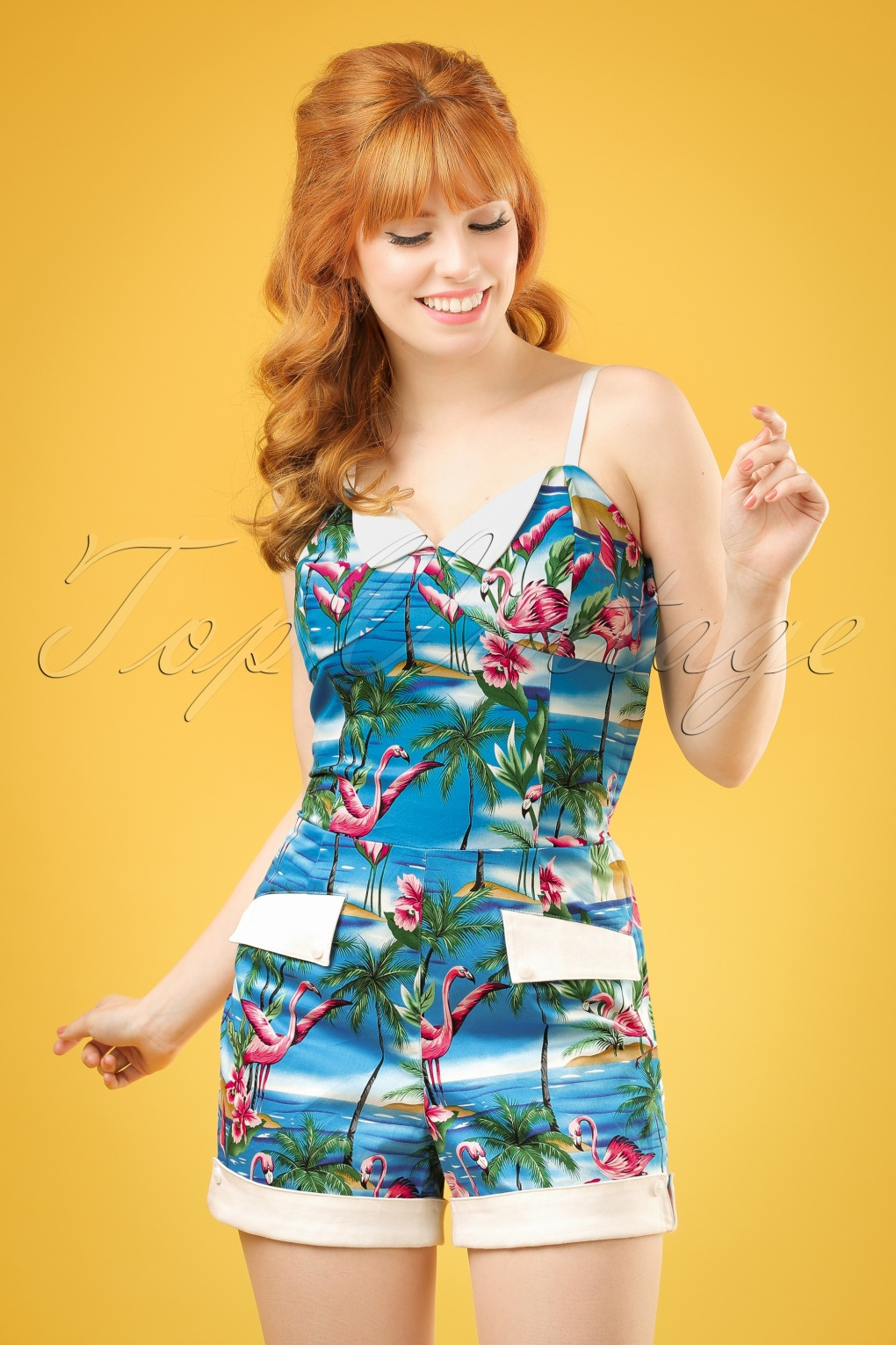 50s Futura Flamingo Island Playsuit In Blue