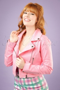 50s Outlaw Biker Jacket in Bubblegum Pink