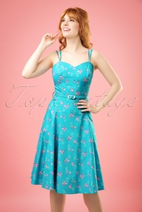 50s Simona Flamingo Swing Dress in Blue