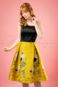 50s Vanya Crane Swing Dress in Black and Yellow