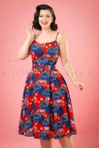 50s Lilly Japanese Parasol Swing Dress in Red and Blue