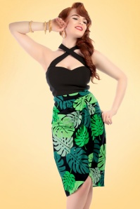 50s Kala Tahiti Palm Sarong Skirt in Green