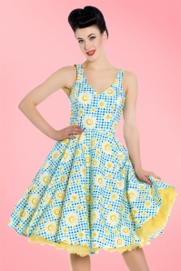 50s Sunshine Floral Gingham Swing Dress in Blue