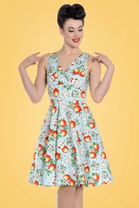 50s Somerset Apples Swing Dress in Blue