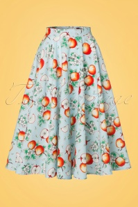 50s Somerset Apples Swing Skirt in Blue