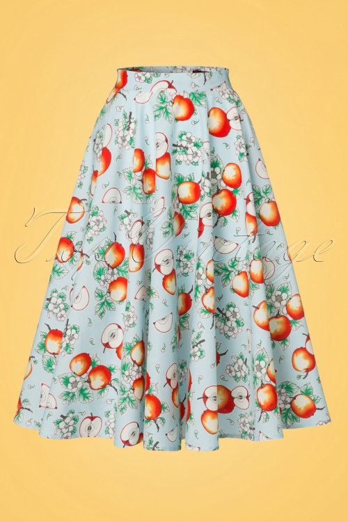 Bunny Somerset 50s Apple Swing Skirt in Blue 122 39 21055 20170406 0011W