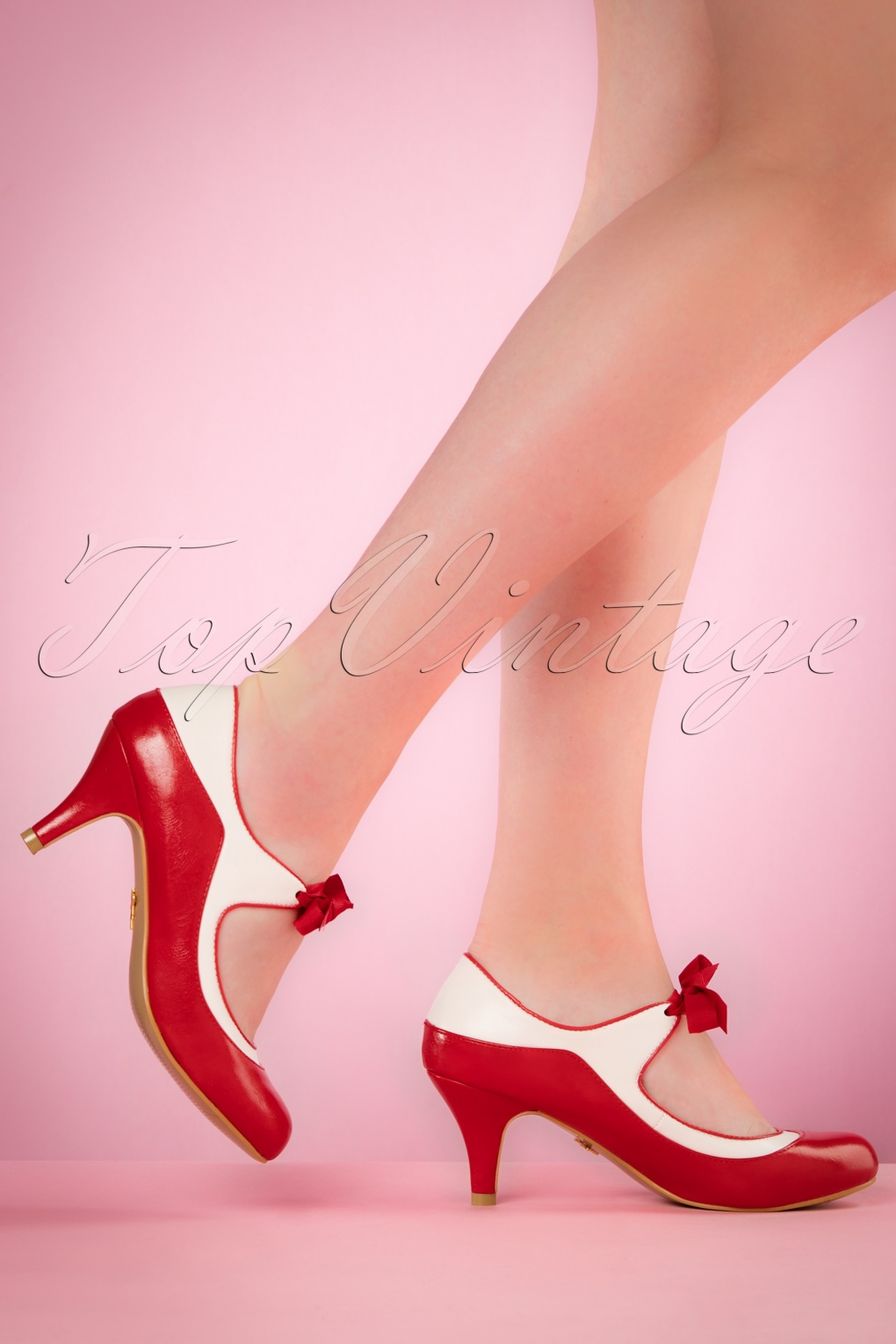 1950s Style Shoes 50s Jeannie Pumps in Red and White £43.78 AT vintagedancer.com