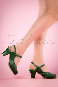 40s Betty Sandals in Dark Green