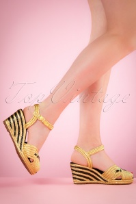 50s Renee Raffia Wedge Sandals in Gold