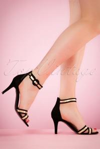 Tamaris Mary Jane Black Gold Sandal 402 10 21023 04052017 004W