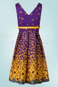 Lindy Bop Valerie Purple Sunflower Dress 102 69 21234 20170411 0010W