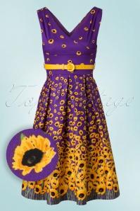 50s Valerie Sunflowers Swing Dress in Purple