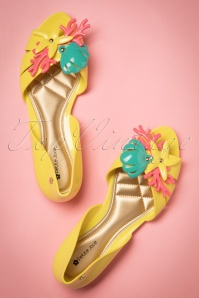 60s Ocean Treasures Flats in Yellow