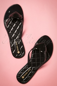60s Heart Slippers in Black