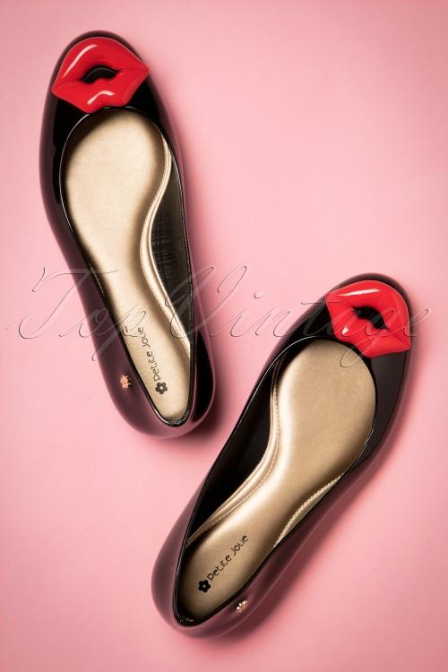Petite Jolie Black Lips Flat Shoes  410 10 20000 20170411 0009w