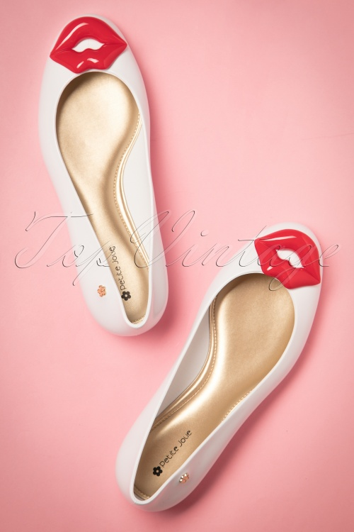 Petite Jolie White Lips Flat Shoes  410 50 20001 20170411 0004w