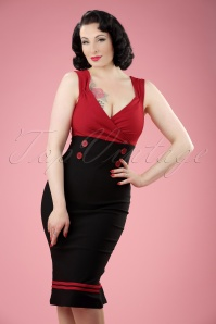 Diva Set Sail Pencil Dress Années 50 en Noir et Rouge
