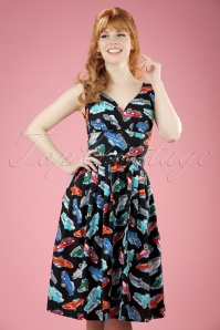 TopVintage Exclusive ~ 50s Retro Cars Swing Dress in Black