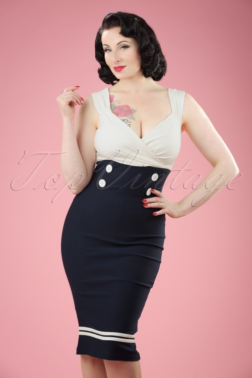 50s diva set sail pencil dress in navy and white for Diva attire