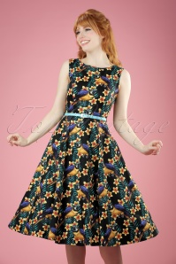50s Hepburn Parrots Swing Dress in Black