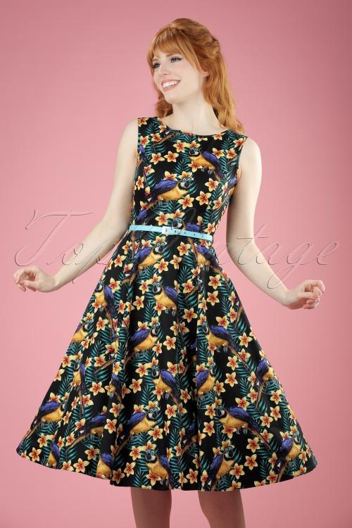 Lady V Hepburn Parrot Swing Dress 102 14 21190 20170403 0013W