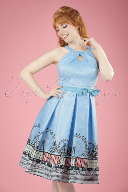 Lindy Bop Cheri Blue Swing Dress 102 39 21230 20170406 00010W