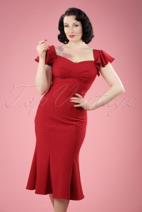 50s Tulsa Polkadot Pencil Dress in Red