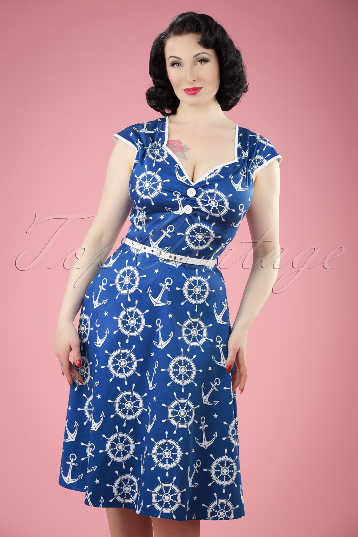 Sailor Dresses, Nautical Dress, Pin Up & WW2 Dresses 50s Isabella Nautical Swing Dress in Blue £47.97 AT vintagedancer.com