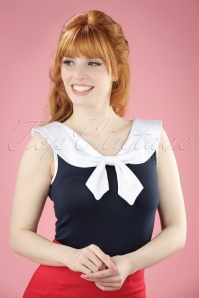50s Betsy Bow Top in Navy and White