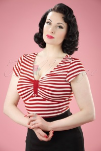 50s Marty Knit Stripes Top in Red and White
