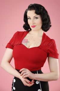 Miss Candyfloss Shortsleeved Red Rockabilly Top 110 20 20623 20170223 0008W