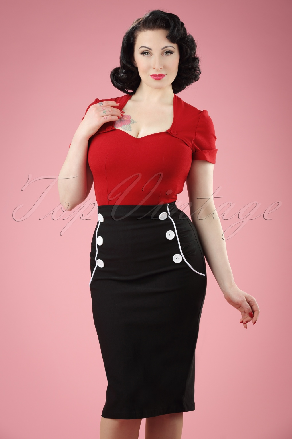 1950s Skirts; Pinup, Poodle, Pencil, Swing & Circle Skirts 50s Vivian Pencil Skirt in Black £52.43 AT vintagedancer.com
