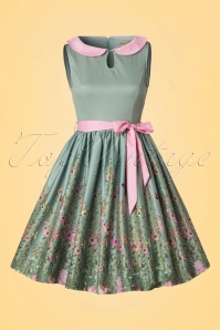 Lindy Bop Beattie Green Floral Swing Dress 102 40 21215 20170411 0006W