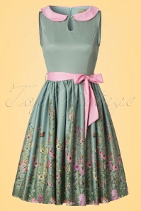 Lindy Bop Beattie Green Floral Swing Dress 102 40 21215 20170411 0003W